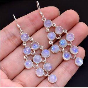 Jewelry - 🎉HP Sterling Silver🌈🌔Rainbow Moonstone Earrings